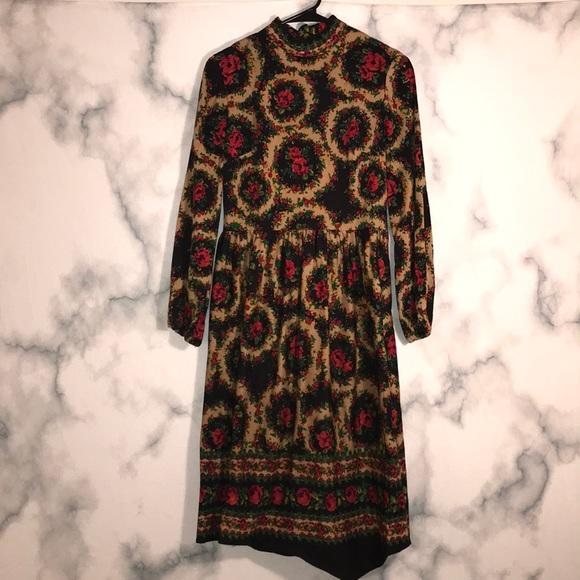 Dresses & Skirts - Vintage turtleneck flower dress Gypsy Earth BOHO